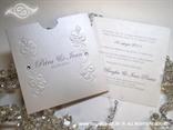 bijela ekskluzivna pozivnica za vjenčanje s 3D tiskom i cirkonima