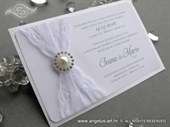 Wedding invitation - White Lace Harmony
