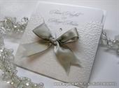 Pozivnica za vjenčanje - Silver Bow Charm