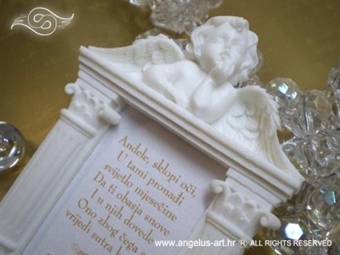 bijeli anđeo na magnetu sa slikom i tiskom