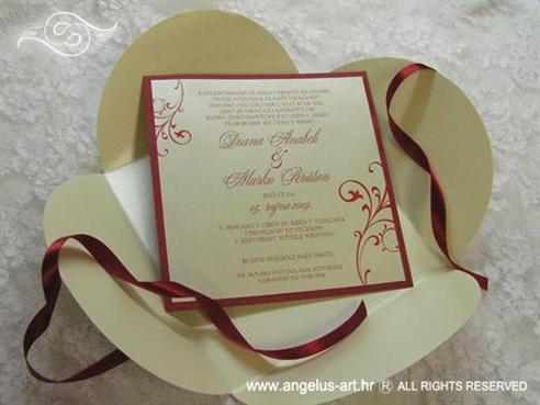 bordo crvena krem pozivnica za vjenčanje s mašnicom