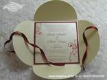 crvena bež pozivnica za vjenčanje sa satenskom trakom