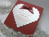 Pozivnica za vjenčanje - Red Bow Heart