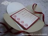 crvena pozivnica za vjenčanje u krem omotnici na rasklapanje