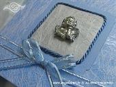 Ekskluzivna tvrdo ukoričena plava čestitka za razne prigode sa srebrnim anđelom