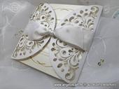 Ekskluzivna bijela laserski rezana pozivnica - laser cut invitation