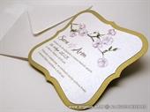Pozivnica za vjenčanje - Golden Flower Shape