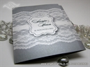 budget silver wedding invitation with lace motif