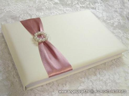 knjiga dojmova za vjencanje s rozom ruzom i perlama