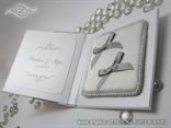 knjigica s jastucicem za vjencano prstenje sa srebrnim masnicama