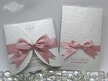 komplet pozivnica i zahvalnica bijela s rozom trakom