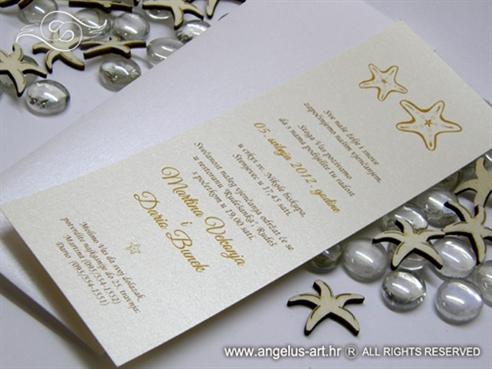 krem pozivnica za vjencanje s dvije morske zvijezde