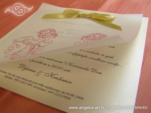 krem pozivnica za vjenčanje s mašnom i anđelima