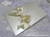 Pozivnica za vjenčanje Cream Pearl Bow Charm