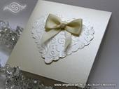 Pozivnica za vjenčanje - Cream Heart Shaped