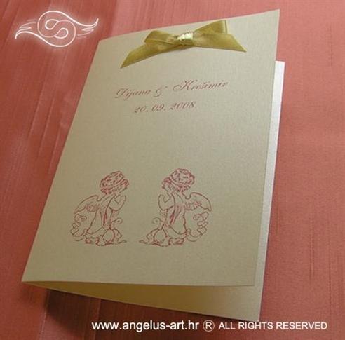 krem zahvalnica za vjenčanje s mašnicom i anđelima