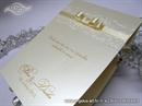 Krem zahvalnica za vjenčanje s reljefnim uzorkom i satenskom mašnom