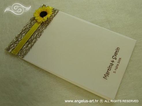 krem zahvalnica za vjenčanje sa suncokretom