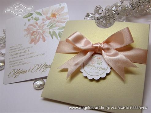krem zlatna breskva pozivnica za vjencanje