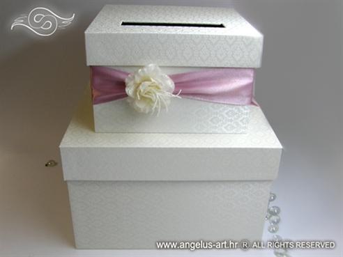 kutija za kuverte s darovima za mladensce sa rozom trakom i cvijetom