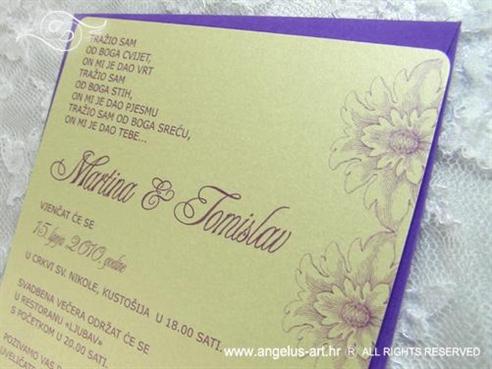 ljubičasta krem pozivnica za vjenčanje