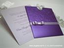 ljubičasta lila pozivnica za vjenčanje na izvlačenje s mašnicom