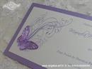 Pozivnica za vjenčanje Leptirov let - ljubičasta
