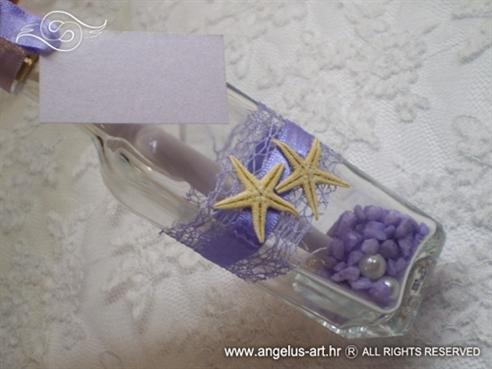 ljubičasta pozivnica u boci s morskom zvijezdom
