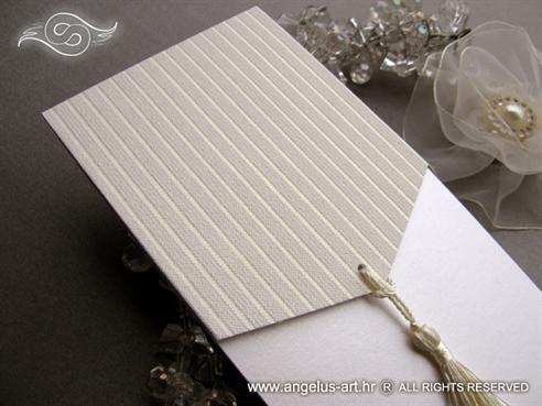luksuzna moderna pozivnica za vjencanje krem bijela