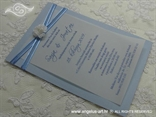 plava pozivnica s organdij trakom