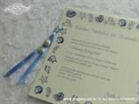 plava pozivnica za vjenčanje s morskim zvijezdama i pužićima