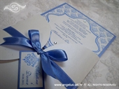 Pozivnica za vjenčanje Blue Damask Beauty
