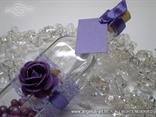 poruka u boci kao pozivnica, ljubičasta s dekoracijama