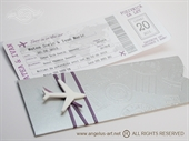 Pozivnice za vjenčanje - Silver & Lilac Boarding pass