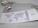 Pozivnice za vjenčanje avio karta lila