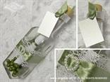 pozivnica u boci bijela mreža, zelena satenska mašna i srce