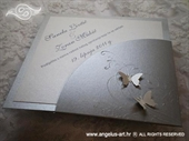 Pozivnica za vjenčanje Diamond Silver Butterfly