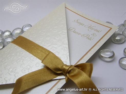 pozivnica za vjenčanje kombinacija krem i staro zlato