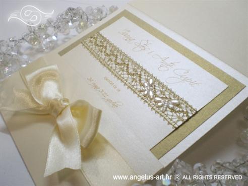 pozivnica za vjenčanje krem s mašnom ekskluzivna