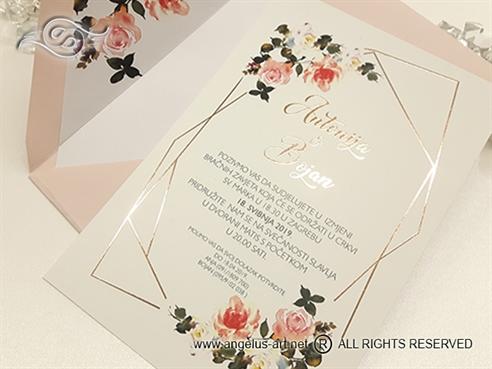 pozivnica za vjencanje ruze vodena boja golden rose foliotisak