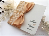 Wedding invitation - Peach Stylish Bow