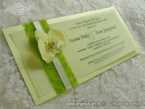 pozivnica za vjenčanje s orhidejom i sisalom