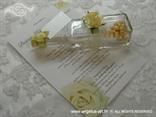 pozivnica za vjenčanje u boci šampanj s ružom i tiskom