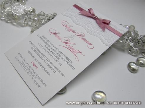 pozivnice sa cipkom i masnom roza bijele