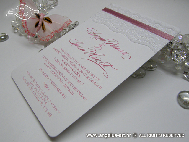 white and pink lace wedding invitation