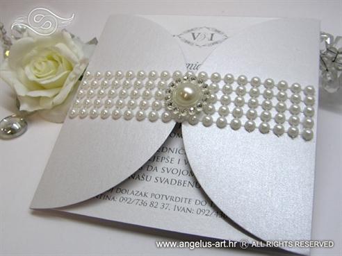 pozivnice za vjencanje bijele sa perlama