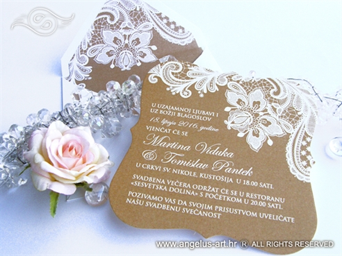 pozivnice za vjencanje sa cipkom eko natural smede boje retro vintage