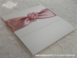 pink invitation with beads brooch