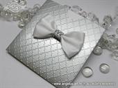 Pozivnica za vjenčanje - Silver & White Shine Charm
