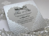 Wedding invitation - Ornamented Silver Hear